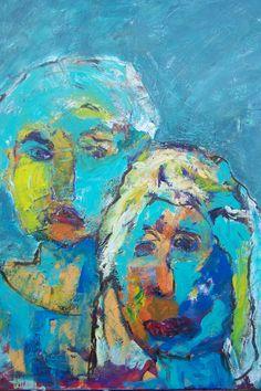 "acryl schildering 80x100, ""Verloren"" van Marian Filarski"