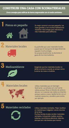5 CONSEJOS PARA CONSTRUIR TU CASA CON ECOMATERIALES. Click en la imagen para verlo más grande Grande, Build House, Environment, Recycling, Tips, Hipster Stuff