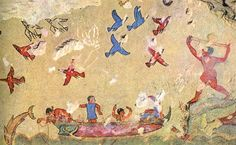 Hunting and Fishing; wall painting in the Tomb of Hunting and Fishing; at Tarquinia; c. 510-500 BC; Trying to snare birds.