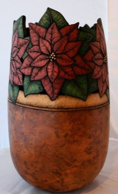 Poinsettia Gourd Art::by Tia Flores Decorative Gourds, Hand Painted Gourds, Vases, Gourd Art, Nature Crafts, Pyrography, Ancient Art, Wood Carving, Ceramic Art