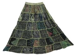 Amazon.com: Boho Couture Maxi Skirt, Pine Green Patchwork Long Gypsy Skirts: Clothing