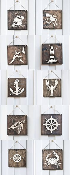 Wood Signs #Nautical #Ocean #Lighthouse #shark #octopus #beachhouse #beach