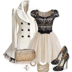 white pea coat with black tulle trim, cap-sleeved black lace & white dress, black lace heels