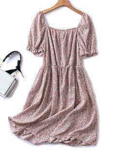 Plus Ditsy Floral Square Neck Flounce Sleeve A-line Milkmaid Dress | SHEIN USA Summer Vacation Outfits, Ditsy Floral, Dress P, Plus Size Dresses, Line, Short Sleeve Dresses, Usa, Fashion, Moda
