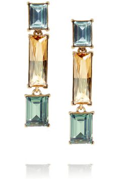 Oscar de la Renta|24-karat gold-plated Swarovski crystal clip earrings|NET-A-PORTER.COM
