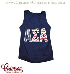Navy Stars & Chevron Tank Top Apparel!! Love this navy stars and chevron Alpha Sigma Alpha tank top!! Only at Crimson Collections!