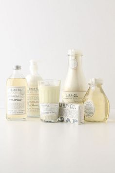 Barr-Co Pure Vegetable Hand Soap, Fine Shea Butter Lotion, Candle, Soap Bar, Fine Handmade Bath Salts, and Bubble Bath. Original Scent: milk, oatmeal, vanilla and vetiver (each sold separately) | anthropologie