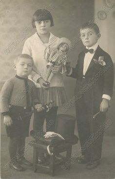 1920s Kids Children Antique Toy Doll Magician Vintage Old Photo | eBay