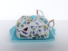 tea for two butter dish by butterbiskit on Etsy