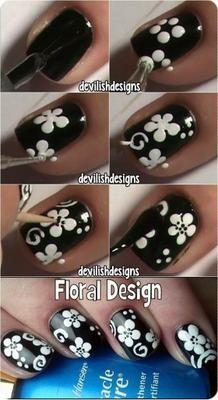 DIY Nail Art techniques What You Can Do With Nail Dotting Tool - nail tutorial Black Nail Art, New Nail Art, Nail Art Diy, Easy Nail Art, Diy Nails, Cute Nails, White Nail, Black Art, Nail Nail