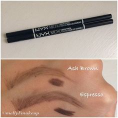 NYX Micro Brow Pencils in Ash Brown and Espresso. I've reviewed these before but I wanted to swatch the two shades together. Awesome brow pencil at the drugstore! @nyxcosmetics #nyx #nyxcosmetics #eyebrows #brows #browpencil #nyxbrowpencil #nyxmicrobrow #makeupswatches #makeup #makeuplover #makeupaddict #makeupjunkie  #beauty #beautylover #beautyaddict #beautyblogger #beautyreviews #cosmetics