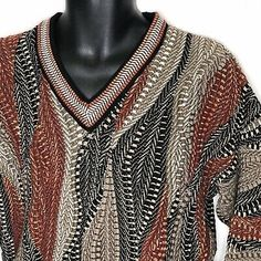 Vtg Tundra Canada Wavy Chunky Pullover Sweater XL Cotton Burgundy Tan Black Fall  | eBay Brown Sweater, Men Sweater, Man Clothes, Black And White Design, Golf Shirts, Mens Xl, 90s Fashion, Pullover Sweaters, Burgundy
