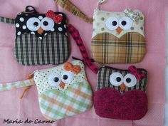 Owls Coin Purses for walker cup bags Fabric Crafts, Sewing Crafts, Sewing Projects, Purse Patterns, Sewing Patterns, Sewing Hacks, Sewing Tutorials, Owl Crafts, Creation Couture