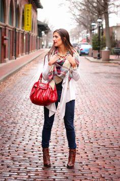 Zara plaid scarf + Clark's booties