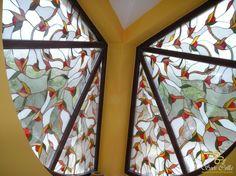 Vitráž s Drobnými Kvetmi Výplň Okna |