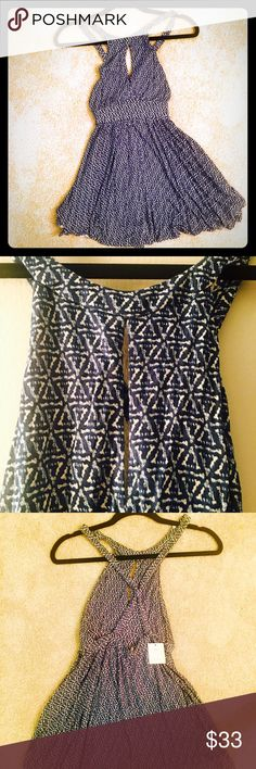 Urban Outfitters Ecoté Patterned Romper - XS- NWT Brand New With Tags- Urban Outfitters Ecoté Blue Patterned High Neck Keyhole Romper.  Super comfortable stretchy material with a classy look! Urban Outfitters Pants Jumpsuits & Rompers