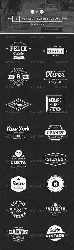 16 Vintage Badges Logos Number 03 - Download…