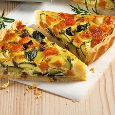 Colorful vegetable quiche- The ideal dinner when guests are in the house. The different types of vegetables can of course be exchanged at will – according to gusto! Gourmet Pizza Recipes, Vegetarian Pizza Recipe, Deep Dish Pizza Recipe, Quiche Recipes, Seafood Recipes, Different Vegetables, Colorful Vegetables, Vegetable Quiche, Le Diner