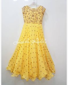 Grab this geogeous outfit now. Beautiful sun shine yellow color floor length anarkali dress with hand embroidery work all over. Indian Anarkali Dresses, Designer Anarkali Dresses, Lehnga Dress, Frock Dress, Anarkali Kurti, Silk Lehenga, Bridal Lehenga, Designer Dresses, Latest Anarkali Designs