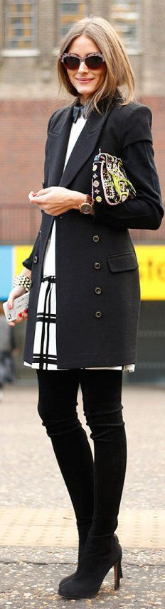 black over the knee boots, black and white plaid wool mini skirt, black shirt, white sweater, patterned clutch, black coat, watch, cuff bracelet
