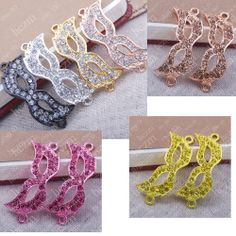 3x crystal pave mask masque connector link fit braided bracelet DIY finding