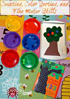 Counting, Color Sorting, and Fine Motor Skills Activity perfect for Back to School with Chicka Chicka Boom Boom Book! - abccreativelearning.com