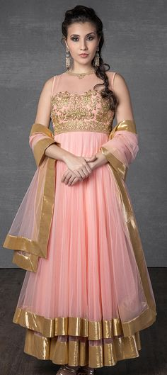 419015: Pink and Majenta color family stitched Anarkali Suits.