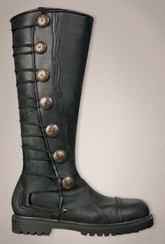 Mens Black Leather Knee High Renaissance Boots