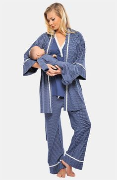 Olian 4 Piece Mom And Baby Maternity And Nursing Pajama Set - Blue Maternity Pajama Set, Maternity Nightwear, Nursing Pajama Set, Fall Maternity Outfits, Maternity Underwear, Stylish Maternity, Maternity Tops, Maternity Fashion, Pregnancy Fashion