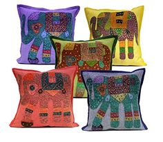 5 Multi Applique Patchwork Ethnic Indian Elephant Throw Pillow Cushion Covers Krishna Mart India http://www.amazon.com/dp/B011RHW83Q/ref=cm_sw_r_pi_dp_PCaywb0XZR3HG