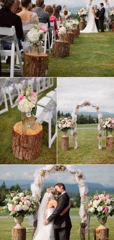 rustic tree stump wedding decor ideas / http://www.himisspuff.com/rustic-wedding-ideas-with-tree-stump/