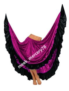 Satin 12 Yard Skirt Flamenco Belly Dance Gypsy Tribal Ruffle Costume Jupe ATS  #Unbranded