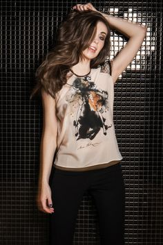 Silk blouse with illustration