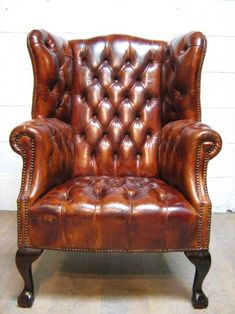 Superb Georgian Style Tan Leather Hide Full Button Down Chesterfield Wing Chair Leather Furniture, Antique Furniture, Home Furniture, Furniture Design, Leather Sofas, Office Furniture, Winged Armchair, Cigar Room, Wing Chair