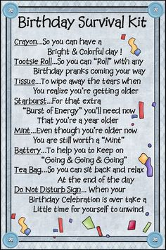 Survival Kits with cute sayings 50 th birthday survival kit Cute
