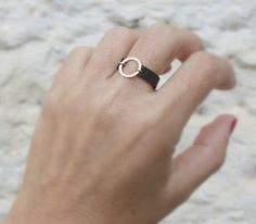 Leather Ring / Circle ring  / Gold Leather Ring / Brown