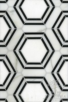 Black and white hex marble tiles