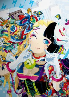 ARTIST: Hiroyuki Takahashi (タカハシヒロユキ) illustrates for books, magazines, music covers, designs fashion, appears at art & manga fairs. You might also find her in a Tokyo club doing live painting on walls or bodies. Her webcomic is HYPERSONIC MUSIC CLUB written by Patrick Macias. via: #Yellowmenace | #anime #manga #JapaneseArt #digitalart  http://yellowmenace8.blogspot.com/2014/09/art-hiroyuki-takahashi-more-girls.html