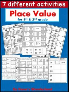 Place Value : Place Value up to 50 - This product contains 32 worksheets with place value up to 50.Included you will find 7 different activities:1.Color tens and ones to show each number2.Complete the chart3.Count the tens and ones. Cut and paste the correct number4.Cut and paste to match the tens and ones.