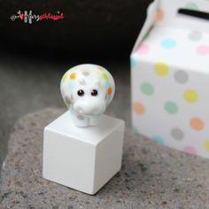 Herzschlüssel: Happy-Konfetti-Hippo Gewinn, #DIY, Glasperlen, lampwork, glass beads