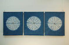 Karamatsu Shibori Stitching   Circles, indigo dyed