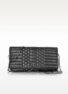 bcfb4a0054fbf Black Quilted Leather Rock Mat Scales - Zadig   Voltaire