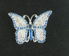 ART DECO Pave,Blue RHINESTONE Butterfly Brooch