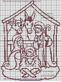 Church Nativity cross stitch.