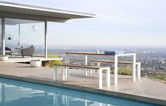 Los Angeles,-Stahl House: outdoor Deneb table and bench with teak top