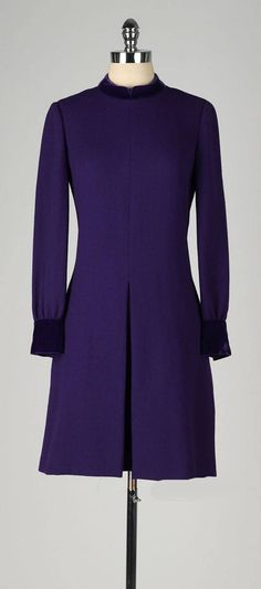 Vintage 1960's Harvey Berin Purple Wool Velvet Dress