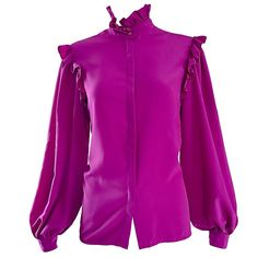 Oscar de la Renta 1970s Magenta Fuchsia Pink Silk Bishop Sleeve Vintage Blouse | From a collection of rare vintage shirts at https://www.1stdibs.com/fashion/clothing/shirts/