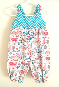 Teal Chevron Bicycle Romper  Teal Chevron Baby by TheDandelionLane