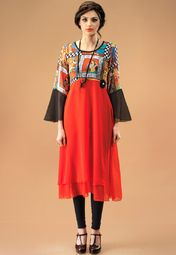 Admyrin Red Printed Tunic Online Shopping Store