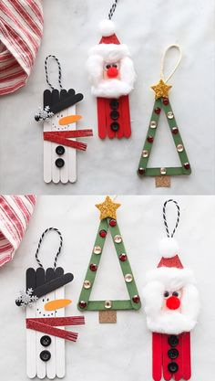Popsicle Stick Christmas Crafts, Christmas Crafts For Kids To Make, Christmas Ornament Crafts, Xmas Crafts, Craft Stick Crafts, Diy Christmas Gifts, Christmas Ideas, Christmas Cookies, Popsicle Crafts